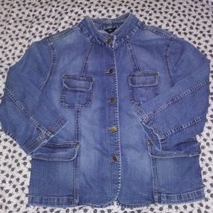 3/4 Sleeve Mock Neck Denim Jacket